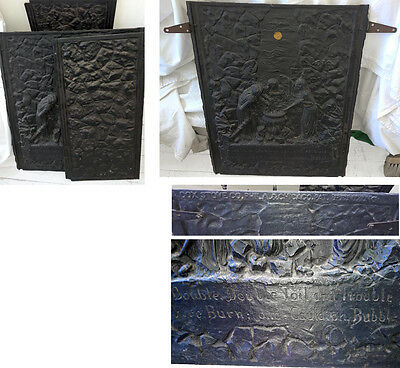 Rare Antique Abram Cox Stove Fireplace Cover Wiccan Wica Witches Witchcraft