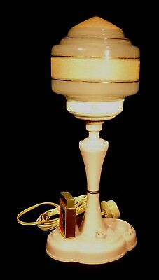 1940's Pink Bakelite Working Electric Lamp Ashtray & Matches Stand Glass Shade