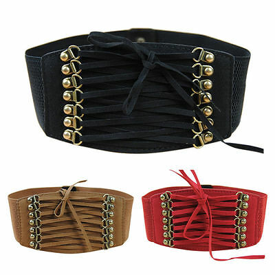 Women Lady Retro Elastic Lace Up Wide Waistband Cinch Corset Stretch Waist Belt