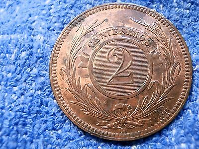 Uruguay: 1869-A  Large  2 Centesimos  Some Mint Luster About Uncirculated!!