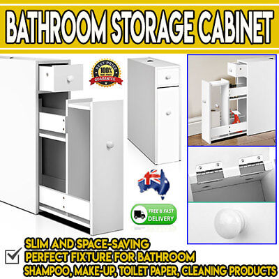 Slim White Bathroom Storage Cabinet Thin Space Saver Drawers