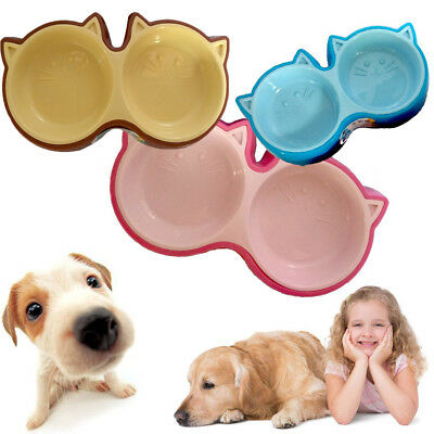 Cartoon Double Bowl Cat Dog Eating Water Bite-resistant Protection Pet Food Bowl
