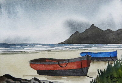 ORIGINAL AQUARELL - Boote am Strand in Island.