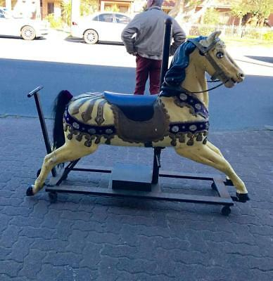 """Antique Early 1900""""s Full Size Carved Carousel Horse..small Badge On Back Hoof"""