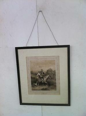 "Framed French Lithograph..""le Passage Du Gue"" Valerio  C.1860"