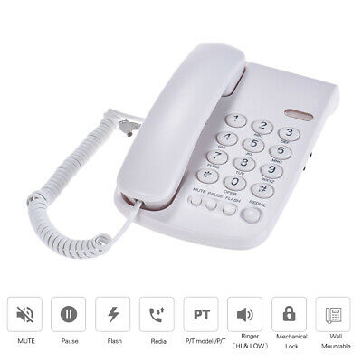 Corded Telephone Phone Wall Mountable Base Handset for Home Call Center Z3T3