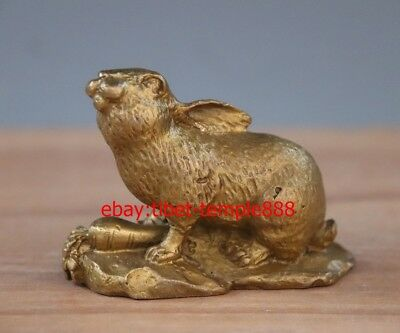 8 CM Chinese Zodiac Animal Brass Copper Rabbit Cony Eat Carrots Fengshui Statue