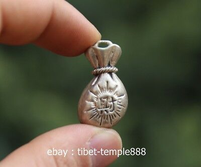 3 CM China Miao Silver Handwork Wealth Blessing Money Sack lucky Amulet Pendant