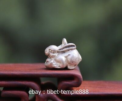 Miao Silver Handwork Chinese Zodiac Animal Lucky rabbit necklace Amulet Pendant