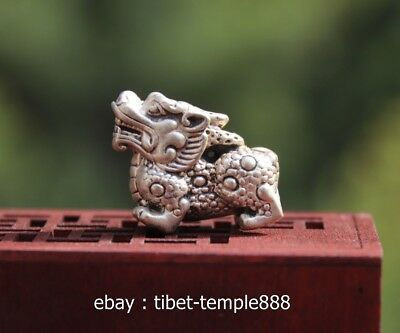3 CM Chinese Miao Silver Fengshui Animal Foo Dog Lion Dragon Amulet Pendant