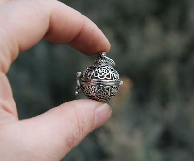 3.5 CM China Miao Silver Handwork Hollow Out Round Luck Amulet Pendant Necklace