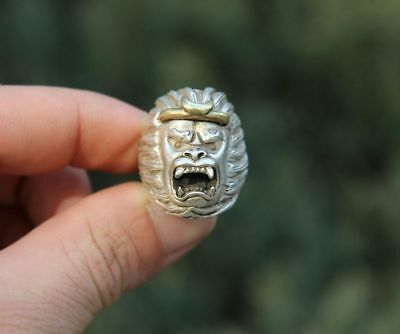 Chinese Miao Silver Monkey King Tightening Incantation Flexible Finger Ring