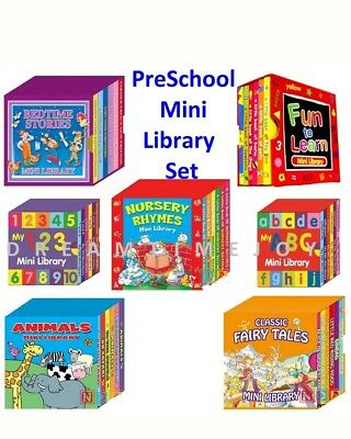 Mini Library Set PreSchool Learning Books for Kids Animals,Nursery Rhymes,123