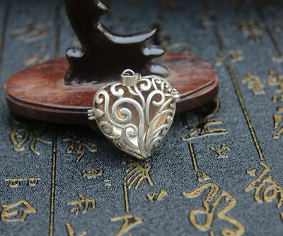 3.5 CM Chinese Miao Silver Handwork Hollow Out Heart-shaped Box Amulet Pendant