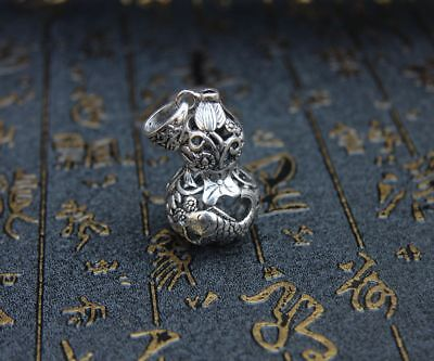5 CM Chinese Miao Silver Handwork Hollow Out Lotus Fish Gourd Amulet Pendant