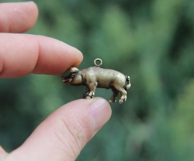 Chinese 100% Pure Bronze Zodiac Animal Pig Hog Swine Sculpture Amulet Pendant