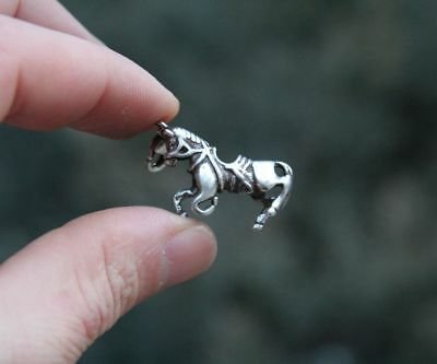 3.5 CM Miao Silver Handwork Chinese Zodiac Animal Lucky Horse Amulet Pendant