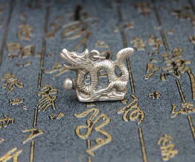 4 CM Miao Silver Handwork Chinese Zodiac Animal Lucky Fly Dragon Amulet Pendant