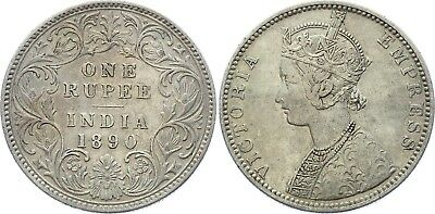 COIN British India 1 Rupee 1890 B KM# 492 Silver Type C Bust, Type I Reverse XF-