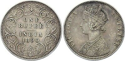 COIN British India 1 Rupee 1890 B KM# 492 Silver Type C Bust, Type I Reverse XF