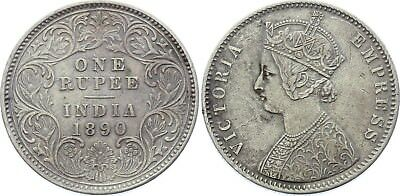 COIN British India 1 Rupee 1890 C KM# 492 Silver Type C Bust, Type I Reverse XF-