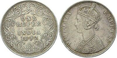 COIN British India 1 Rupee 1892 B KM# 492 Silver Type C Bust, Type I VF+/XF-