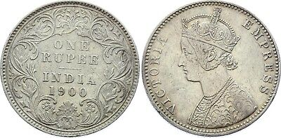 COIN British India 1 Rupee 1900 C KM# 492 Silver Type C Bust, C XF-