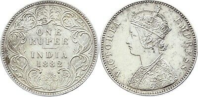 COIN British India 1 Rupee 1882 B KM# 492 Silver Type A Bust, Type I Reverse XF