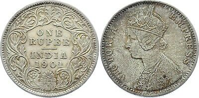 COIN British India 1 Rupee 1901 C KM# 492 Silver Type C Bust, C XF-
