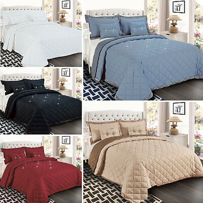 Diamond Embossed Quilted 5 Piece Bedspread Comforter Set with Pillows & Cushions