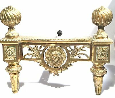 Spectacular Antique Repousse Gold Gilt Bronze Ornate Fireplace Andirons Pair
