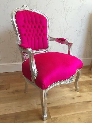 French Louis style Shabby Chic Shocking Pink Velvet Chair Silver wooden frame