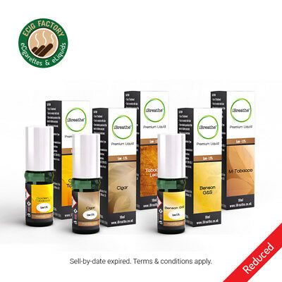 iBreathe Premium Liquid Refills 10ml - Over 50 Flavours - Passed Sell By Date