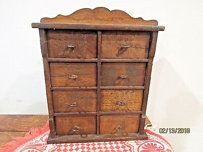 Antique spice cabinet 8 drawers handmade mid late 1800s old primitive small  size - ANTIQUE SPICE CABINET 8 Drawers Handmade Mid Late 1800s Old