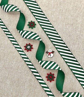 "Green & White Candy Stripe Ribbon - 3/8"" 5/8"" 1"" - 1/3/5m Christmas Ribbon"