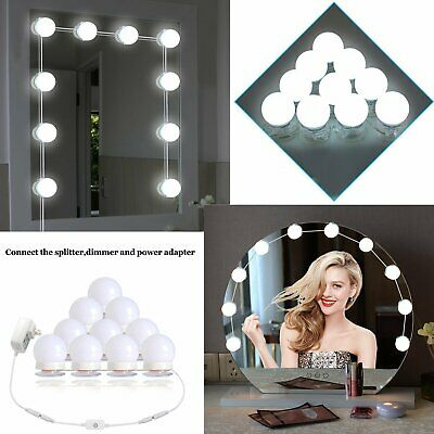Hollywood Vanity 10 LED Dressing Table Mirror Light Strip Makeup Dimmable Bulb