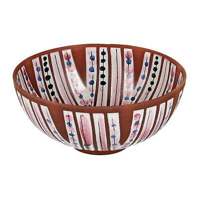 A midcentury Jani Pottery bowl Swedish 1950's faience Pink & black