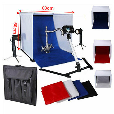 Portable Photography Studio 60cm Light Tent Cube Kit Shoot Box + 4 Backgrounds