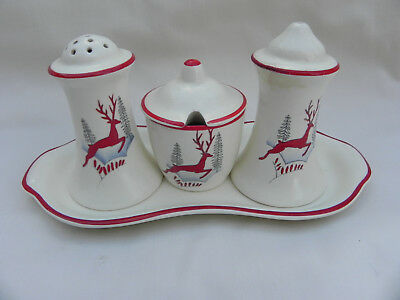 Crown Devon STOCKHOLM CRUET SET, SALT,PEPPER,MUSTARD & TRAY Complete Rare Find.