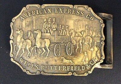 American Express Wells Butterfield Horse Wagon Scene Vintage Belt Buckle