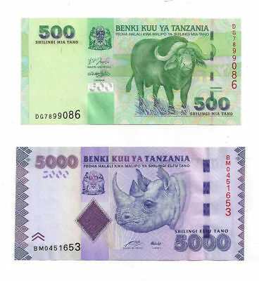 Bank of Tanzania Lot of 2 Notes - 1 - 500 Shillings and 1 - 5000 Shillings Note