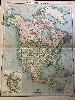 North America Political Map - The Times Atlas c1922
