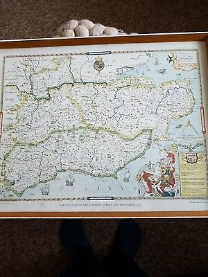 saxtons map of kent,sussex,surrey,middlesex 1575in frame