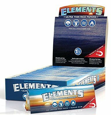 Elements 1.25 (1 1/4) Size Rice Rolling Paper W/ Magnetic Closure Full Box of 25