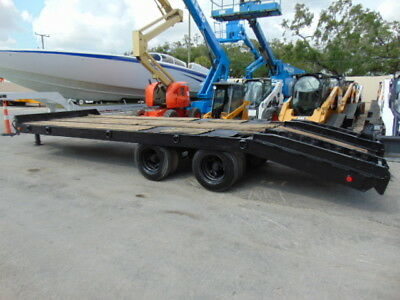 """24 Ft Rogers / Delta """"21 Ton"""" Equipment Tag Along Trailer W/ Built In Ramps"""