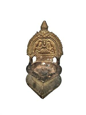 HINDU EAST INDIAN Brass Oil Lamp Incense Burner Figure Goddess Worship India