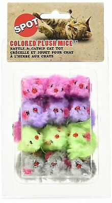 Spot Colored Plush Mice Rattle & Catnip Cat Toy Assorted 12pk  Free Shipping