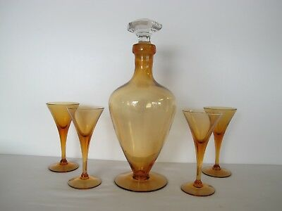 Rare Elegant Topaz Amber Crystal Urn Decanter And 4 Tall Footed Stem  Glasses.