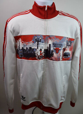 low priced d2266 3c799 RARE TRACK TOP Chicago Bulls Adidas (L) White City Jersey Jacket Originals  NBA