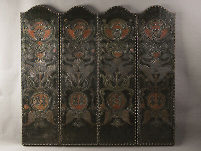 Antique French Four Panel Embossed, Painted, Gold Leaf Leather Screen circa 1840
